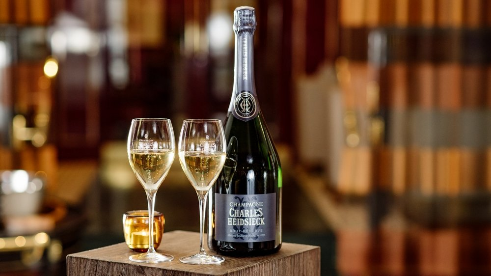 Two glasses of Charles Heidsieck Brut Réserve at Number One